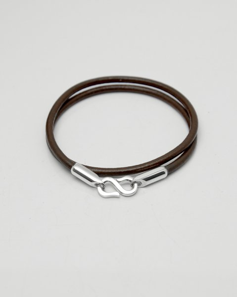 Aug. 2020 Leaves Strength <br>Silver×Leather bracelet LLB-008BR<br>