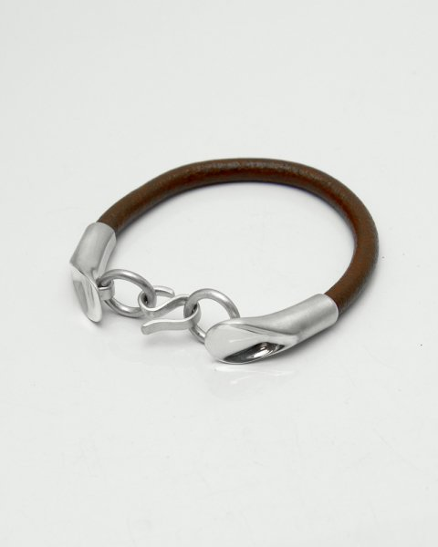 Aug. 2020 Leaves Strength <br>Leaf Silver×Leather bracelet LLB-009BR<br>