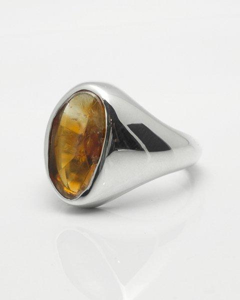8×15mm fancy cut Bicolor citrine ring<br>