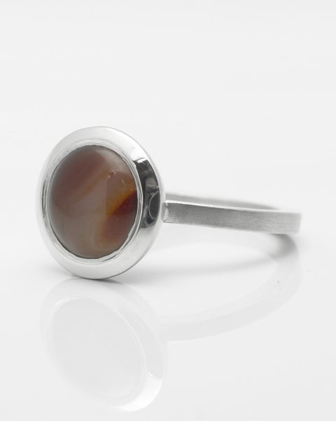 10mm round cabochon Chalcedony ring<br>