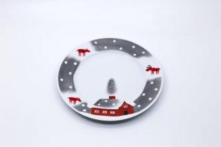 ヘリナ・ティルク・ウェア 赤トナカイシリーズ ケーキプレート (茶色い小屋)