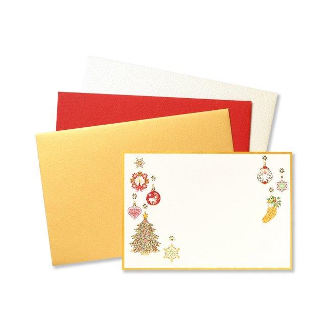 ショートメッセージカードセット クリスマス オーナメント