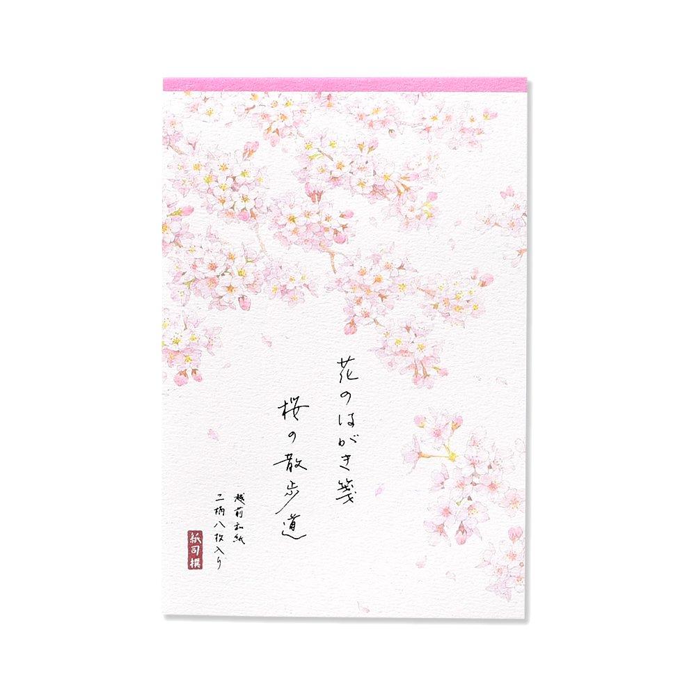 紙司撰はがき箋花のはがき箋桜の散歩道罫無