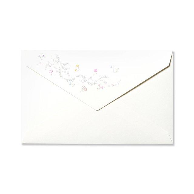 封筒 フローラル レース リボン