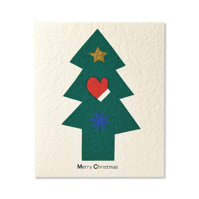 クリスマスカード 切り絵 ツリー