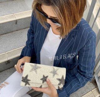【人気】3Dスター柄お財布型クラッチショルダー(Ivory)