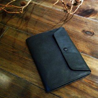 Nasukonsha本革かぶせ付ブックカバー|ブラック