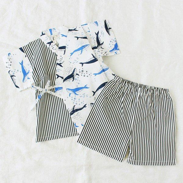 アシメ甚平スーツ(クジラ柄)/ nino(ニノ)/ 80-120cm