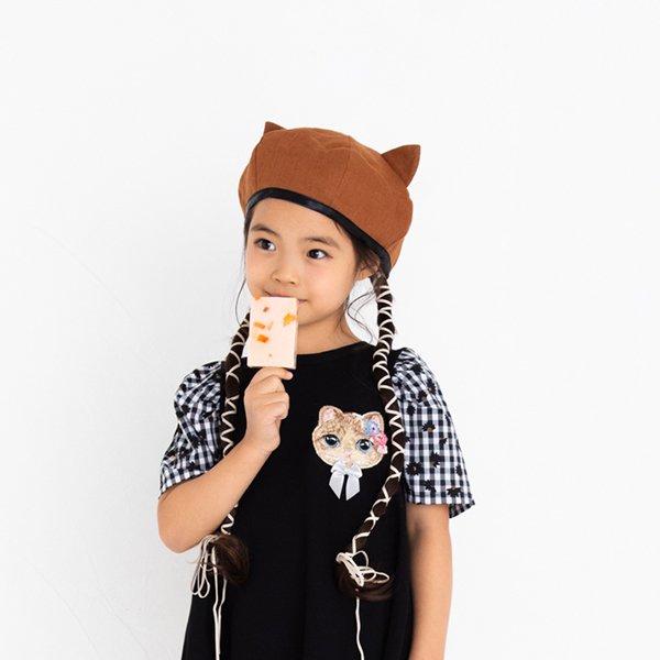 ねこ耳ベレー帽 / nino(ニノ)/ ブラウン / 48-54cm