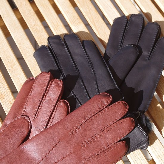 "【30%OFF】 DENTS ""Fur lined leather gloves"""