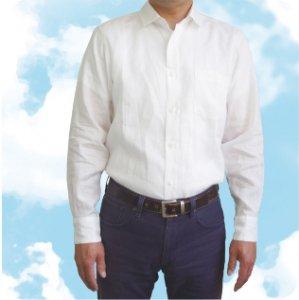 麻の白シャツFor men「近江ちぢみ」【湖東繊維工業協同組合 麻香】