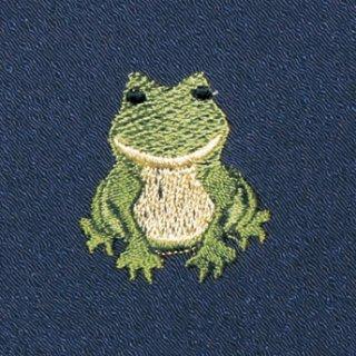 【ネコポス可】お弁当フロシキ・夏刺繍 かえる(紺色)