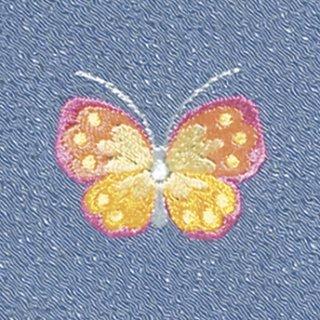 【ネコポス可】お弁当フロシキ・春刺繍 蝶(薄群青色)