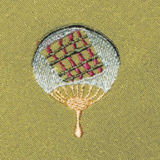 【ネコポス可】お弁当フロシキ・夏刺繍 団扇(わさび色)