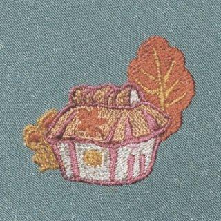 【ネコポス可】お弁当フロシキ・秋刺繍 山里(青磁色)