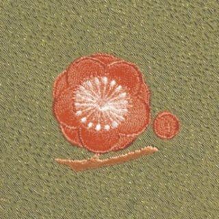 【ネコポス可】お弁当フロシキ・冬刺繍 梅(抹茶色)