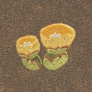 【ネコポス可】お弁当フロシキ・冬刺繍 福寿草(栗色)