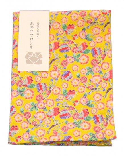 【ネコポス可】お弁当フロシキ・京小紋 桜に蝶(YE)
