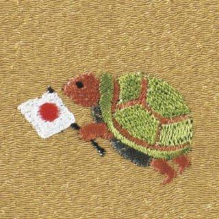 【ネコポス可】歳時記ふろしき 秋・冬 亀(からし色)