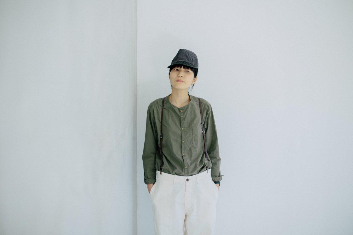 MUYA 80/1 Stand collar  Nerd shirts khaki