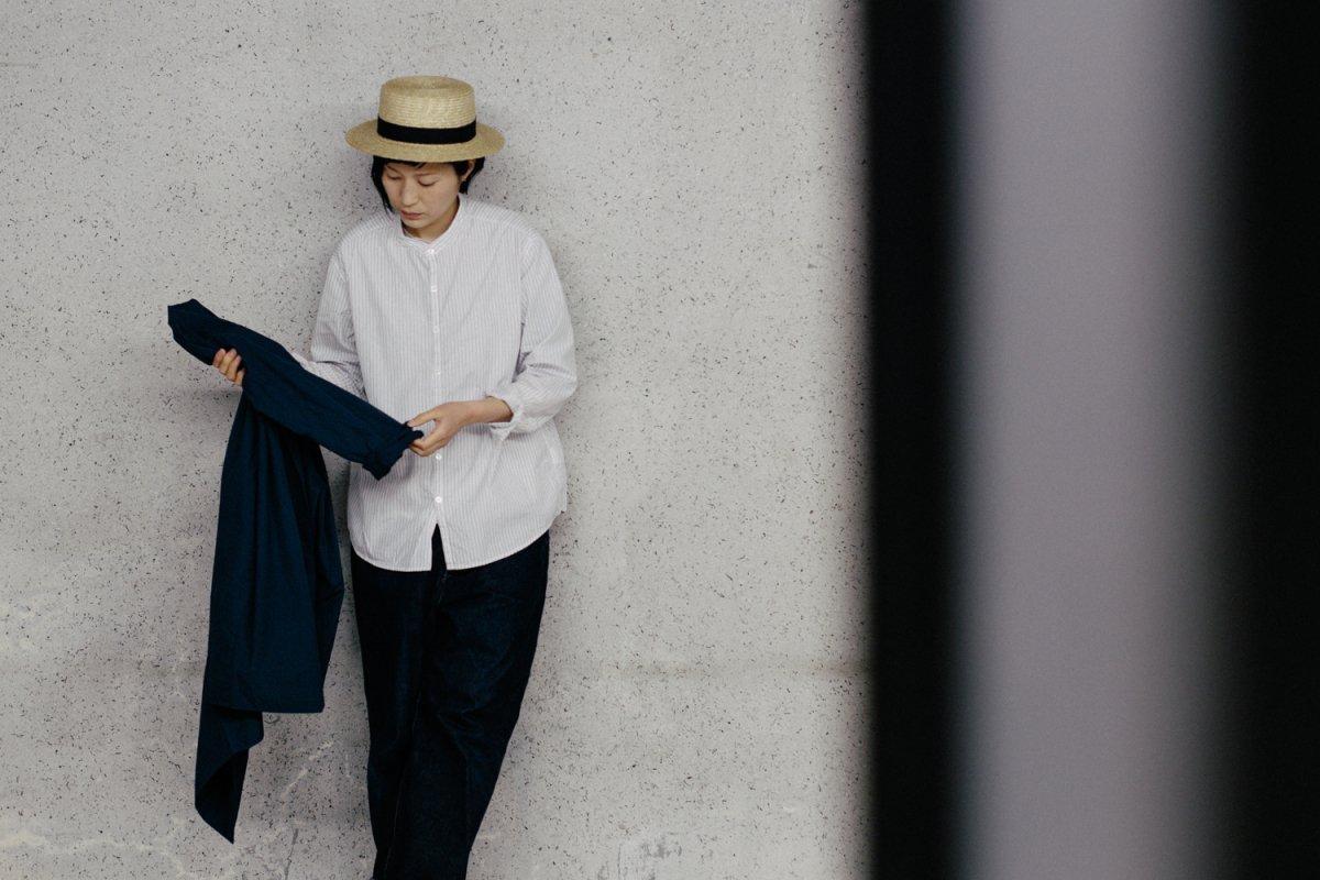 MUYA 60/1 Atelier shirts relax stand collar stripe