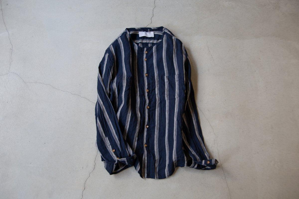 MUYA Linen Nerd shirts stand collar /2color