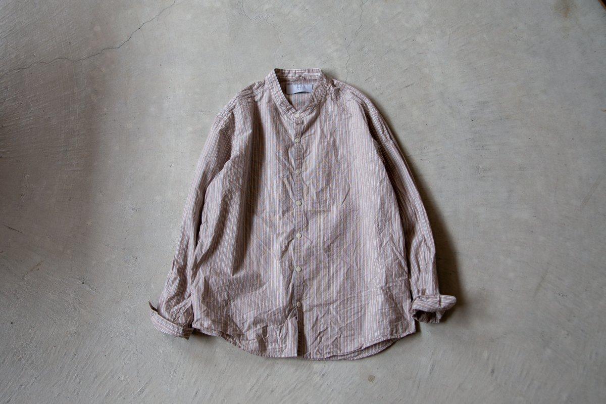 MUYA 60/1 Atelier shirts relax Stand collar  Brown stripe