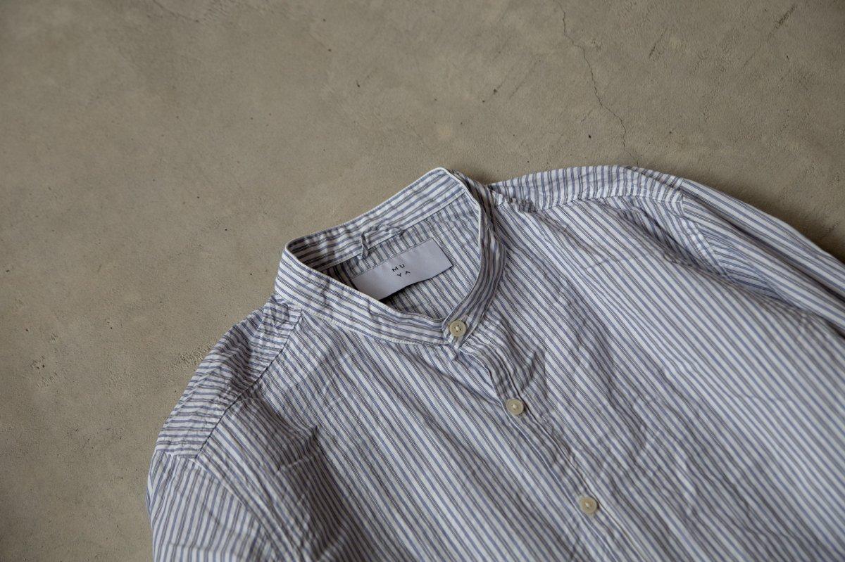 MUYA 60/1 Atelier shirts relax Stand collar  Blue stripe