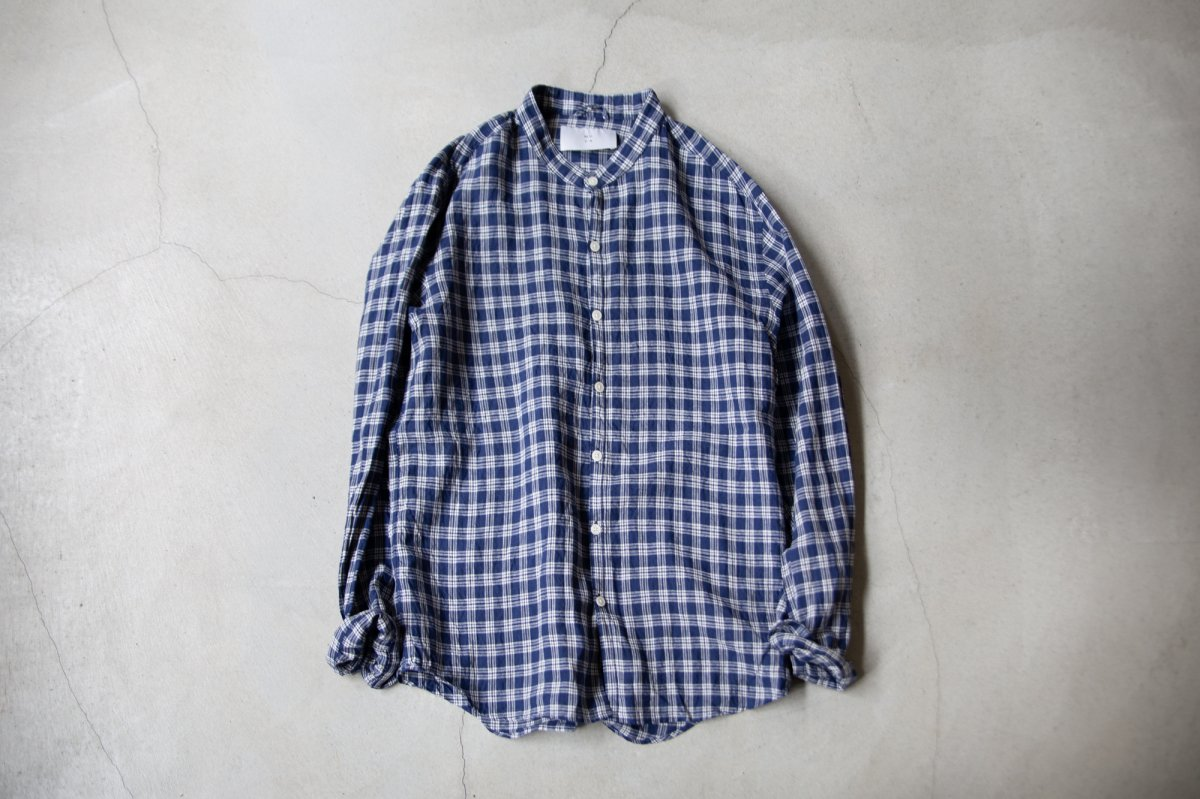 MUYA 40/1 Linen Atelier shirts relax Stand collar  /2color
