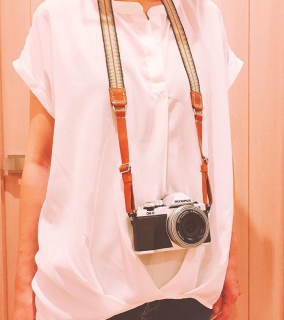 真田紐×レザーのカメラストラップ
