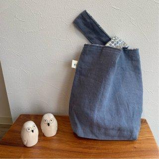 リネン×リバティプリント mini Bag エコバッグ サブバッグ