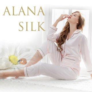 パジャマ シルク  ルームウェアや部屋着にも使える レディース ナイトウェア マタニティとしても かわいい 美容 |Alana Silk