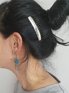 Indian jewellery(インディアンジュエリー)Navajo(ナバホ)族  シルバーコーム(中)ターコイズ【ネコポス指定可能】