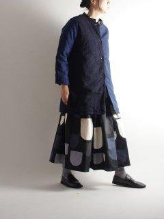 TIGRE BROCANTE(ティグルブロカンテ) 藍の古布 スタンドカラーハーフコート