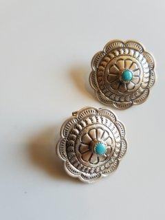 Indian jewellery(インディアンジュエリー)ターコイズ フラワーモチーフピアス Sterling Silver【ネコポス指定可能】