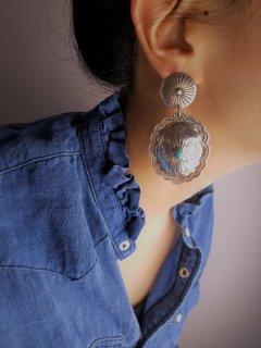 Indian jewellery(インディアンジュエリー) ターコイズ フラワーモチーフスウィングピアス Sterling Silver