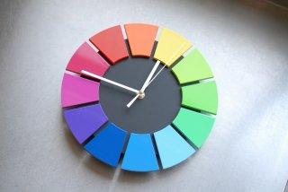 色相環壁時計(25センチ・艶有り・背面黒)