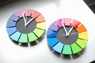 色相環壁時計(20センチ・艶有り・背面黒)