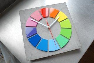 色相環壁時計(29センチ・艶あり・背面モルタル調)