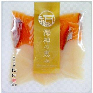 【冷凍】サーモン6切,ホタテ3粒(具材)、わさび、特製タレ付き