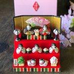 薬師窯 錦彩花かざり雛 三段飾り