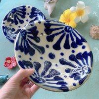 ノモ陶器製作所 7寸皿 唐草コバルト(やちむん)
