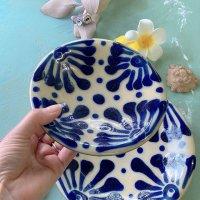 ノモ陶器製作所 5寸皿 唐草コバルト(やちむん)