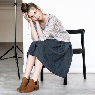 not PERFECT LINEN | linen skirt with deep pockets (charcoal)