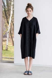 not PERFECT LINEN | washed linen KIMONO tunic (deepest black)
