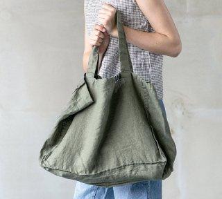 【ネコポス送料無料】not PERFECT LINEN | LARGE LINEN TOTE BAG (forest green) | トートバッグ