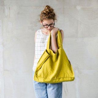 【ネコポス送料無料】not PERFECT LINEN | LARGE LINEN TOTE BAG (greenish mustard) | トートバッグ