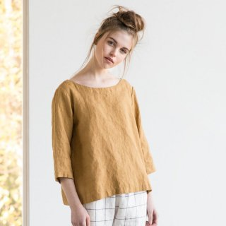 not PERFECT LINEN   Washed linen top JANUARY (amber yellow) UK10/S-M   トップス