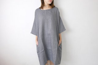 not PERFECT LINEN   washed linen KIMONO tunic (grey linen/wool blend/round neck)   着丈95cm