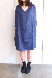 not PERFECT LINEN   washed linen KIMONO tunic (blue linen/wool blend/ v neck)   着丈90cm